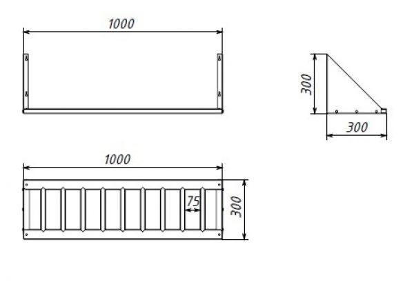 Полка-решётка настенная RR-1000, 1000х300х300 мм